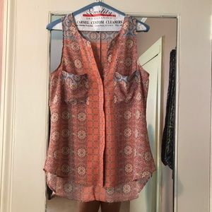 Coral and blue patterned Sanctuary blouse